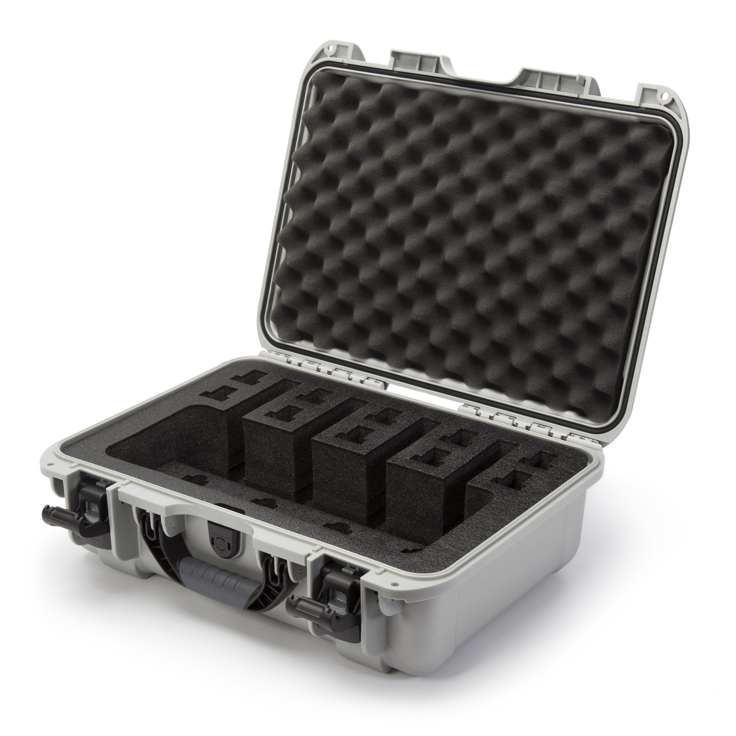Nanuk 925 Waterproof Professional Gun Case, Military Approved with Custom Foam Insert for 4UP - Silver by Nanuk