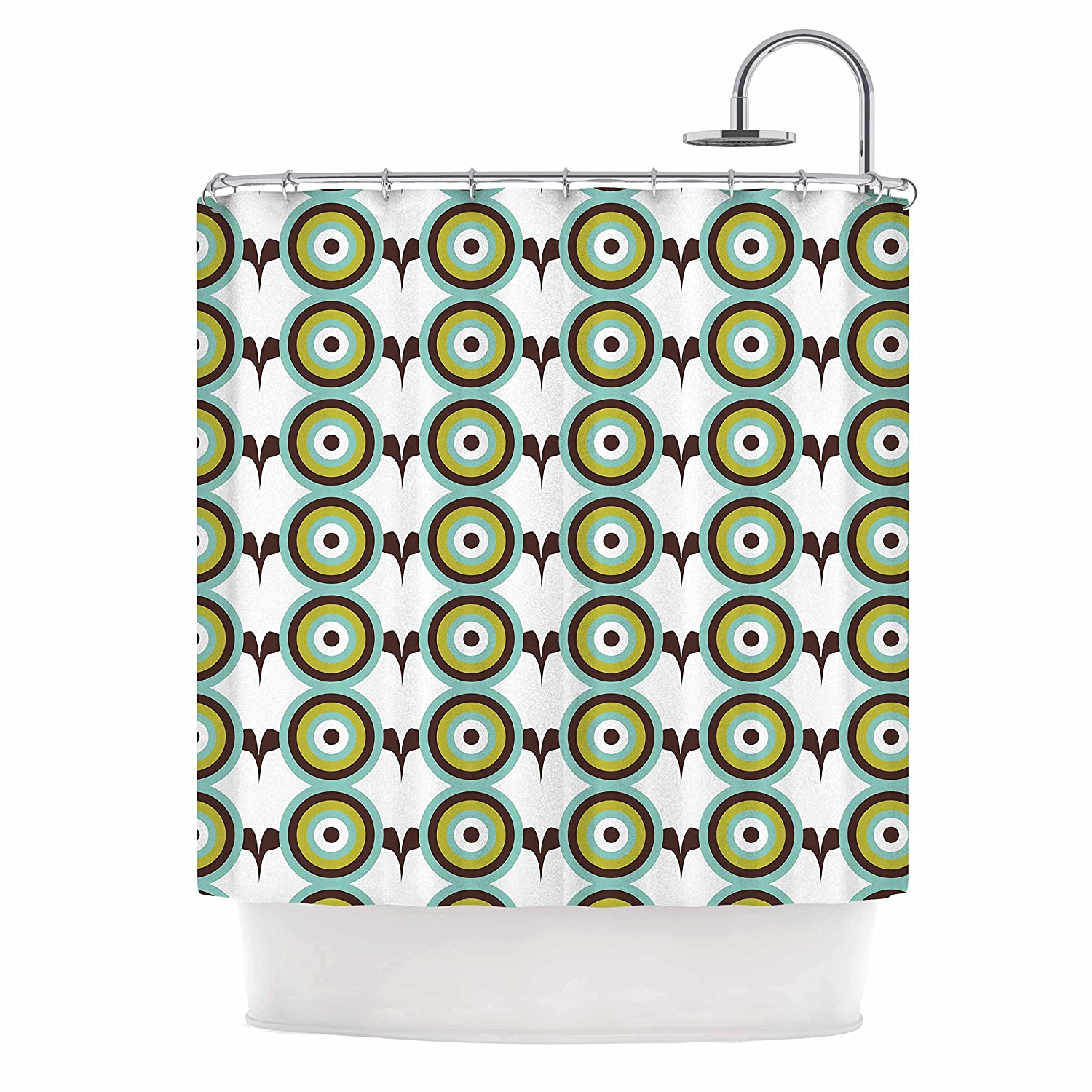 Kess InHouse afe Images Retro Circles Green Brown Illustration 69 x 70 Shower Curtain