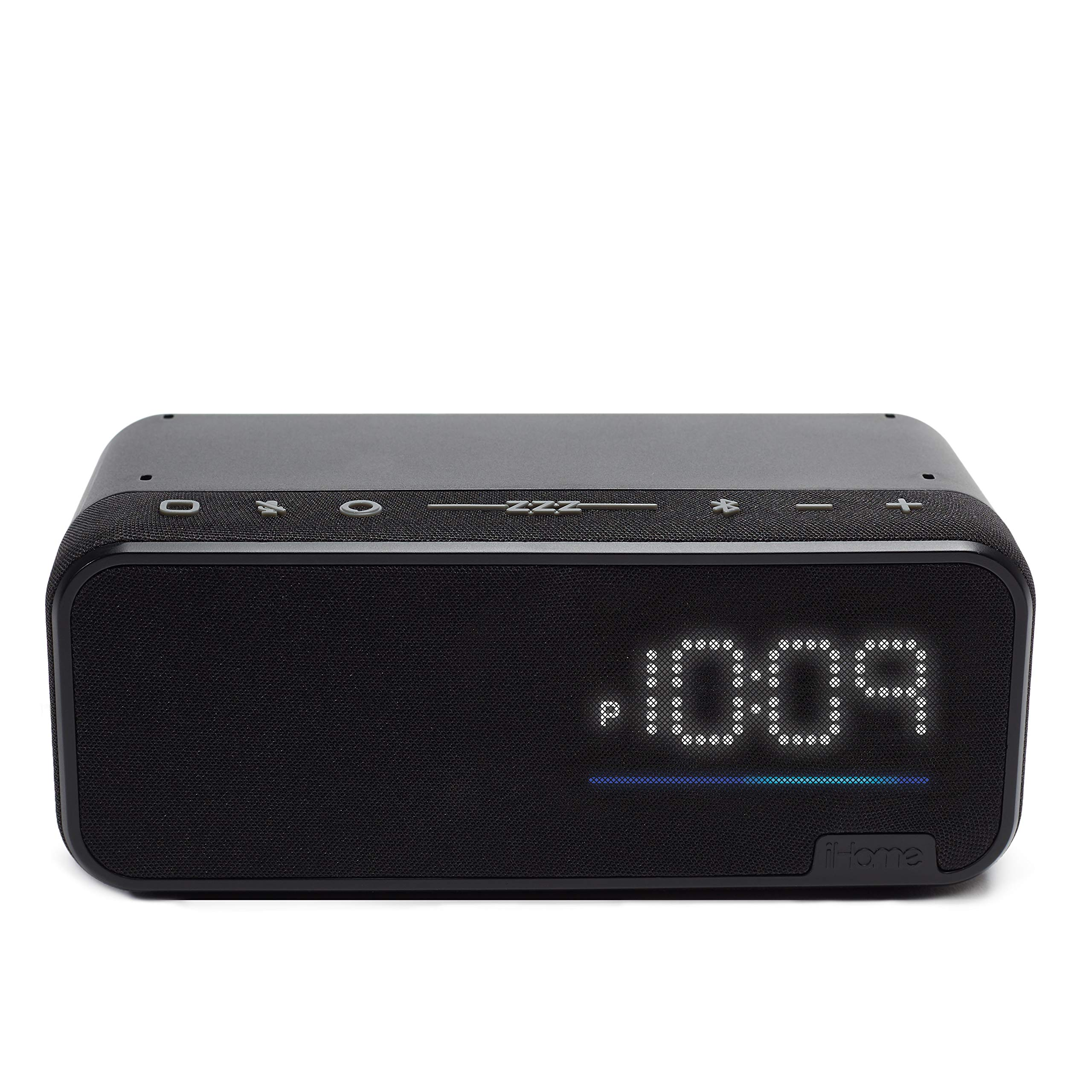 iHome Bluetooth Speaker Home Office Bedside Clock Speaker System Built in Alexa WiFi Enabled USB Charging Port Far Field Voice Activation Smart Home Control (IAV14)
