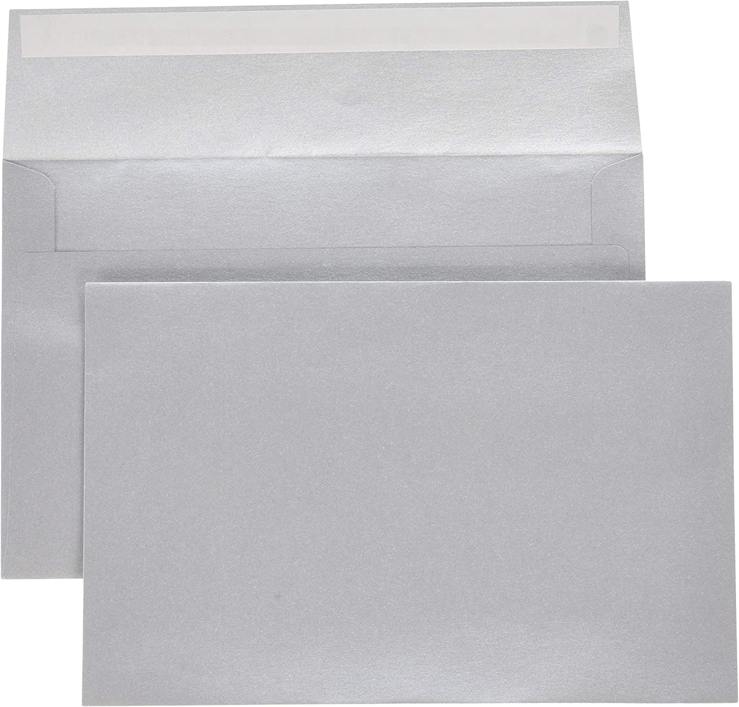 LUXPaper A9 Invitation Envelopes in 80 lb. Silver Metallic for 5 1/2 x 8 1/2 Cards, Printable Envelopes for Invitations, with Peel and Press, 50 Pack, Envelope Size 5 3/4 x 8 3/4 (Silver)