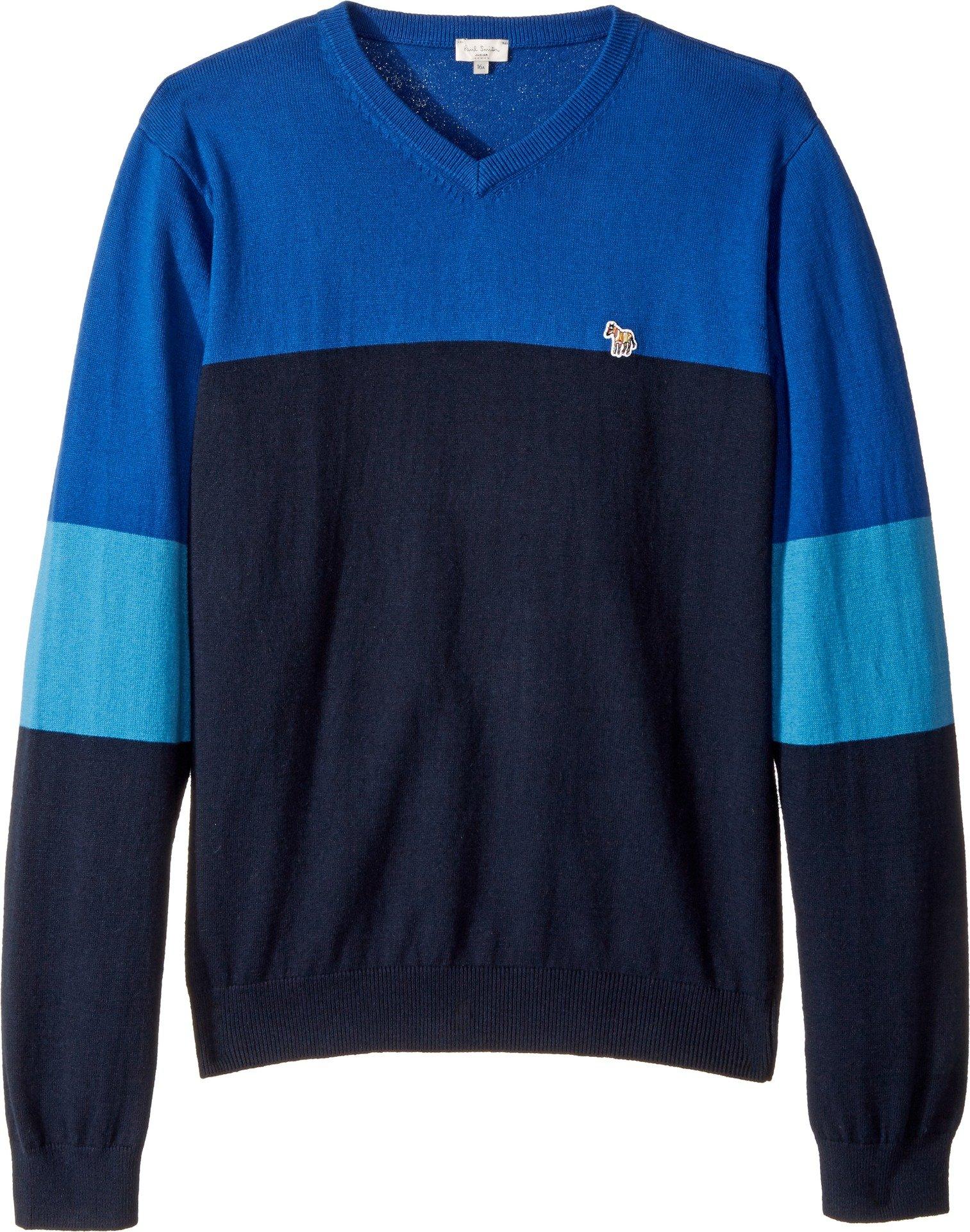 Paul Smith Junior Boy's V-Neck Color Block Sweater (Big Kids) Royal Blue 8 Big Kids