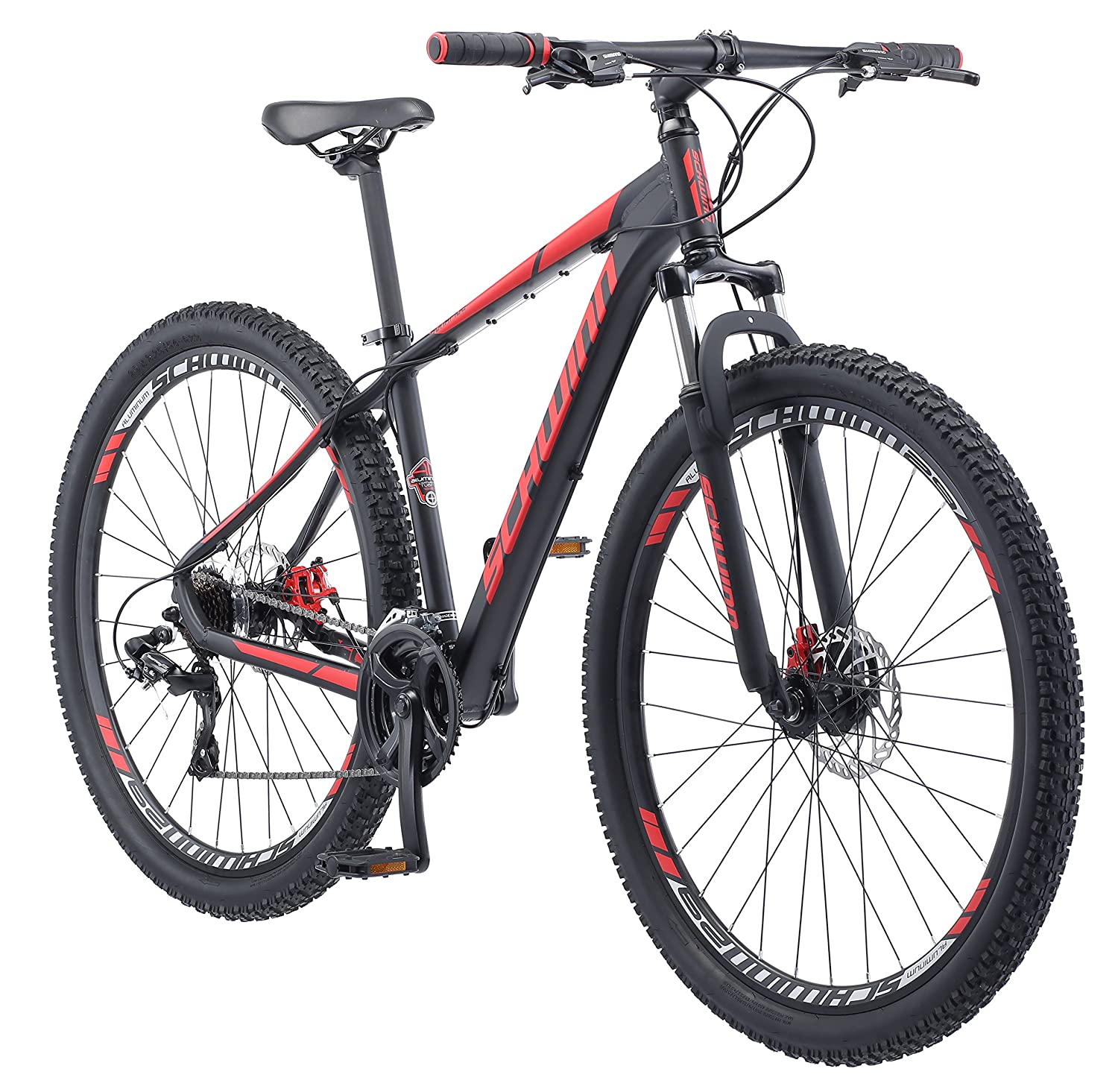 Schwinn Bonafide Mountain Bike with Front Suspension, Featuring  17-Inch/Medium Aluminum Frame and 24-Speed Shimano Drivetrain with 29-Inch  Wheels and