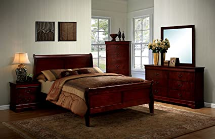 Esofastore Louis Philippe Simple Contemporary Sleigh Eastern King Size Bed  Cherry Color Solid Wood Antique Drawers