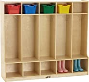 ECR4Kids Birch School Coat Locker for Toddlers and Kids, 5-Section Coat Locker with Bench and Cubby Storage Shelves, Commerci