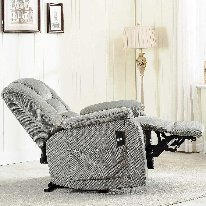 Harper Bright Designs Oversize Heavy Duty Power Lift Recliner Chair Premium Gel Infused Foam Filled Woven Velvet Upholstered Recliner for Living Room Grey