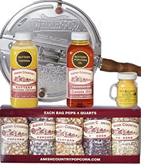 product image for Amish Country Popcorn | 6 Quart Whirley Pop Stovetop Popcorn Gift Set | Old Fashioned with Recipe Guide