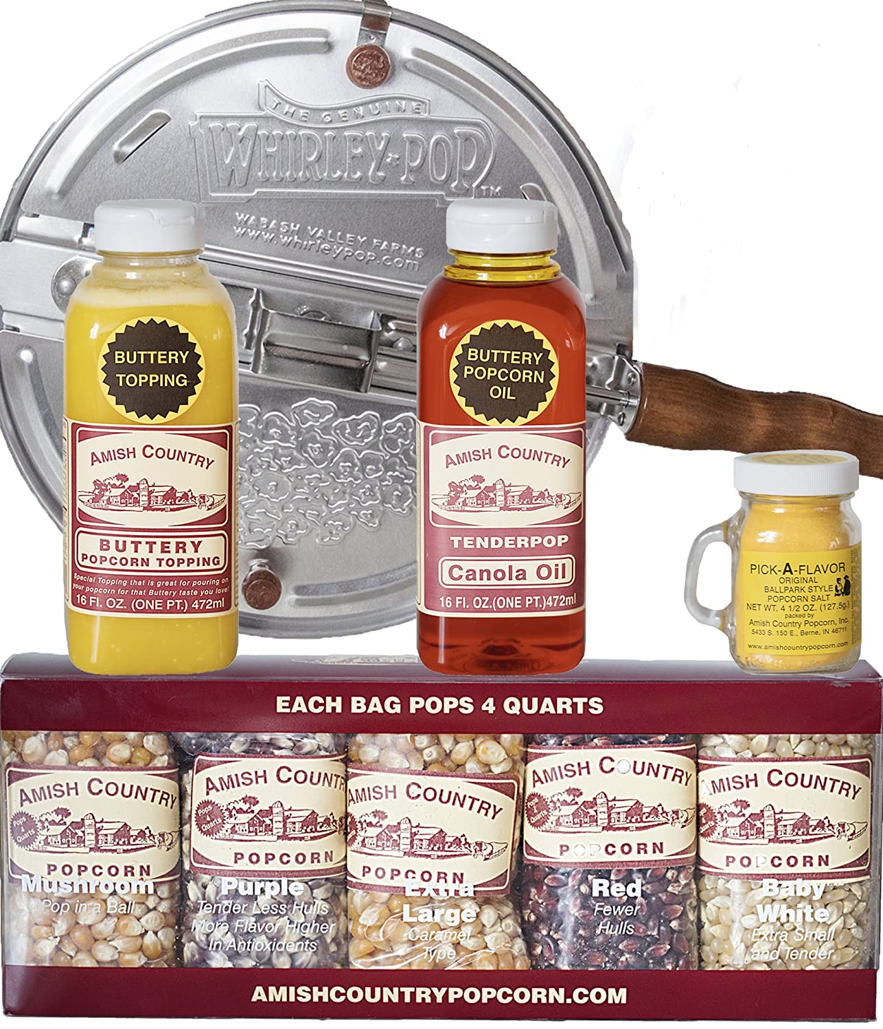Amish Country Popcorn - 6 Quart Whirley Pop Stovetop Popcorn Gift Set - with Recipe Guide - Old Fashioned, Non GMO, and Gluten Free