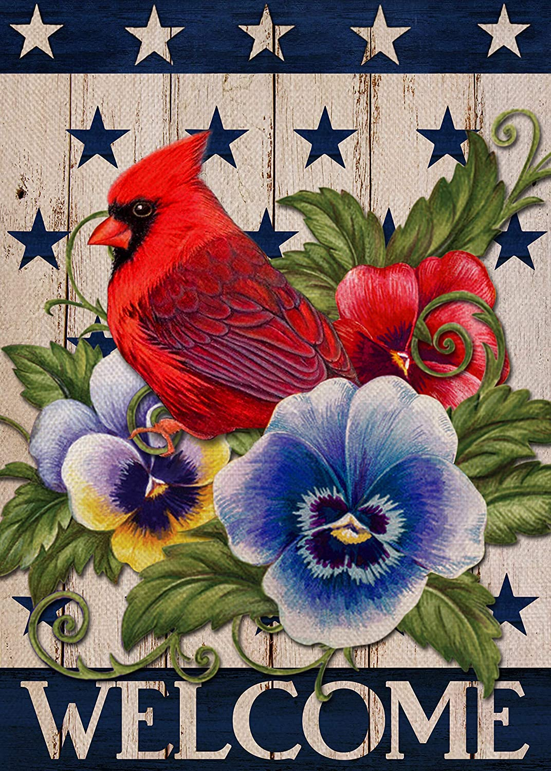 Covido Home Decorative Welcome Cardinal Garden Flag, American Spring House Yard Lawn Red Bird Pansies Flower Decor, USA Patriotic Outside Star Decoration July 4th Outdoor Small Flag Double Sided 12x18