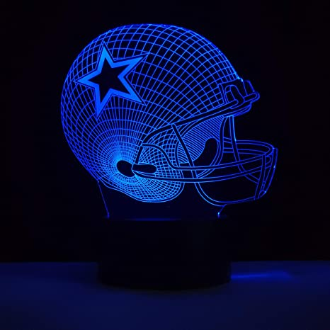 Macannom Dallas Cowboys Helmet 3D Night Light Sport Fans Bedroom Decor Bedside Lamp 7 Colors Change ...