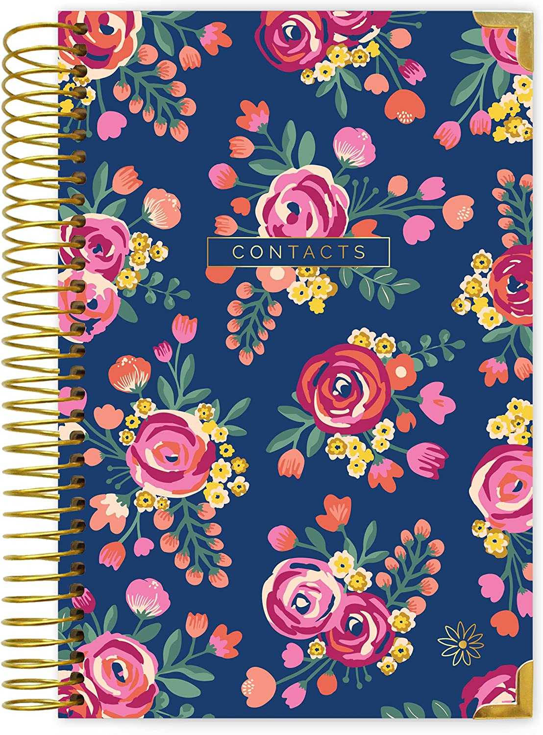 "bloom daily planners New and Improved Hardcover Contacts/Address Book - 6"" x 8.25"" - Vintage Floral"