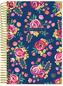 """bloom daily planners New and Improved Hardcover Contacts/Address Book - 6"""" x 8.25"""" - Vintage Floral"""