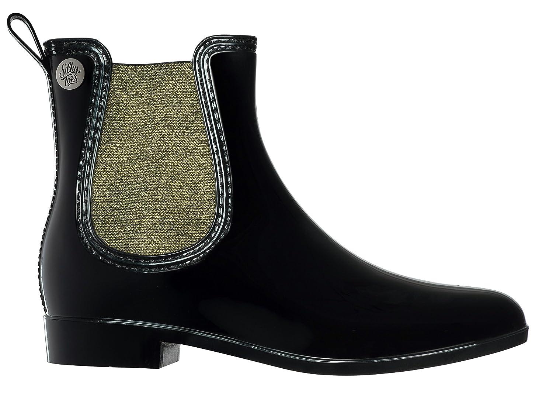 Silky Toes Women's Fashion Elastic Slip On Short Rain Boots B077FHM6BZ 40 M EU Black With Gold Metallic Elastic
