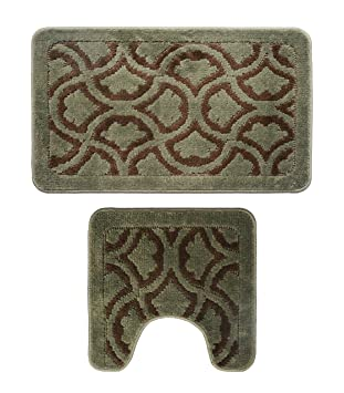 Yu0026K Decor Bathroom 2 Pieces Bath Rug Pedestal Mat Set Contour and bath mat  Aqua Brown