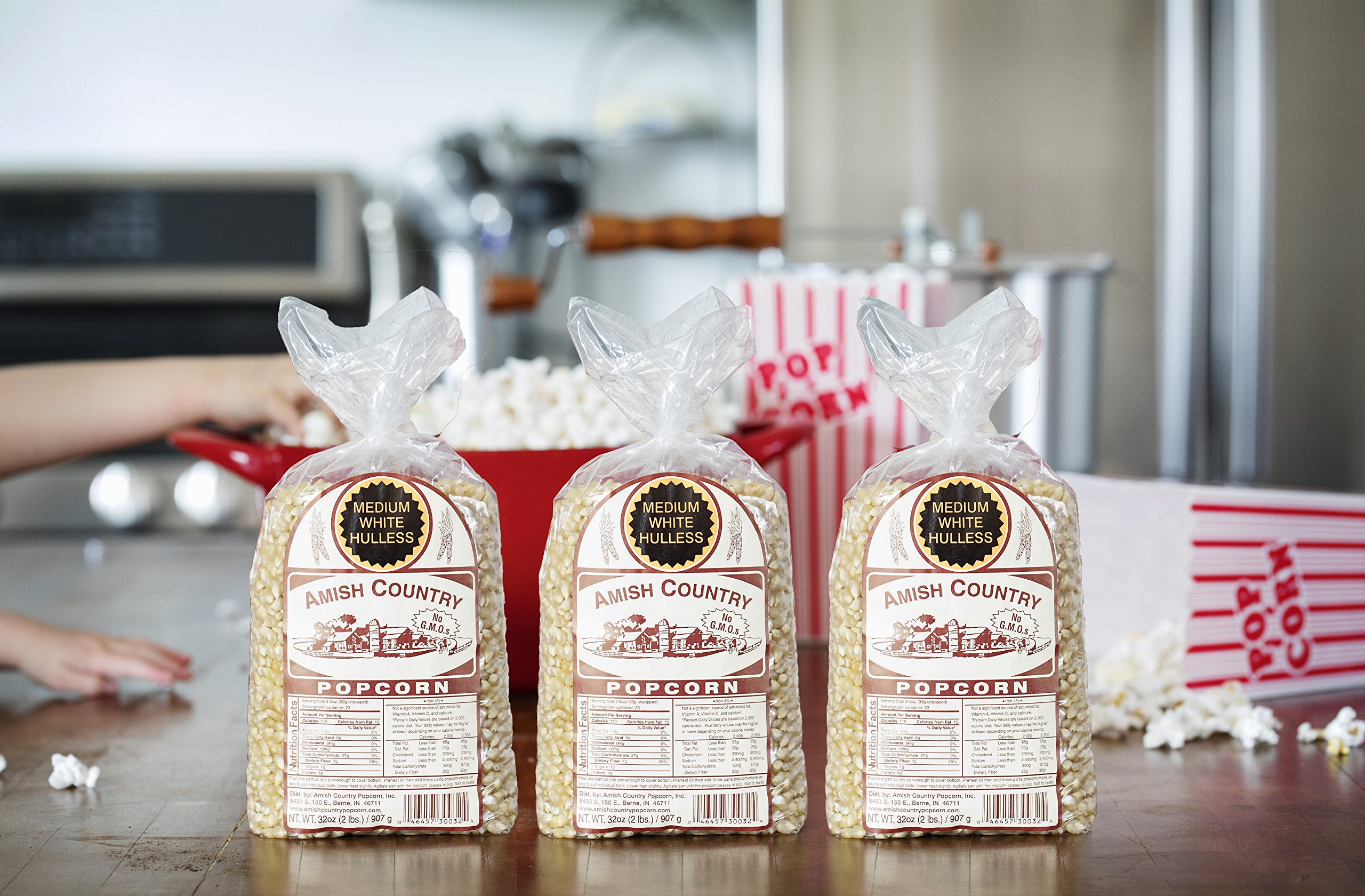 Amish Country Popcorn - 3 (2 Pound Bags) Medium White Popcorn Gift Set Old Fashioned, Non GMO and Gluten Free - With Recipe Guide by Amish Country Popcorn (Image #5)