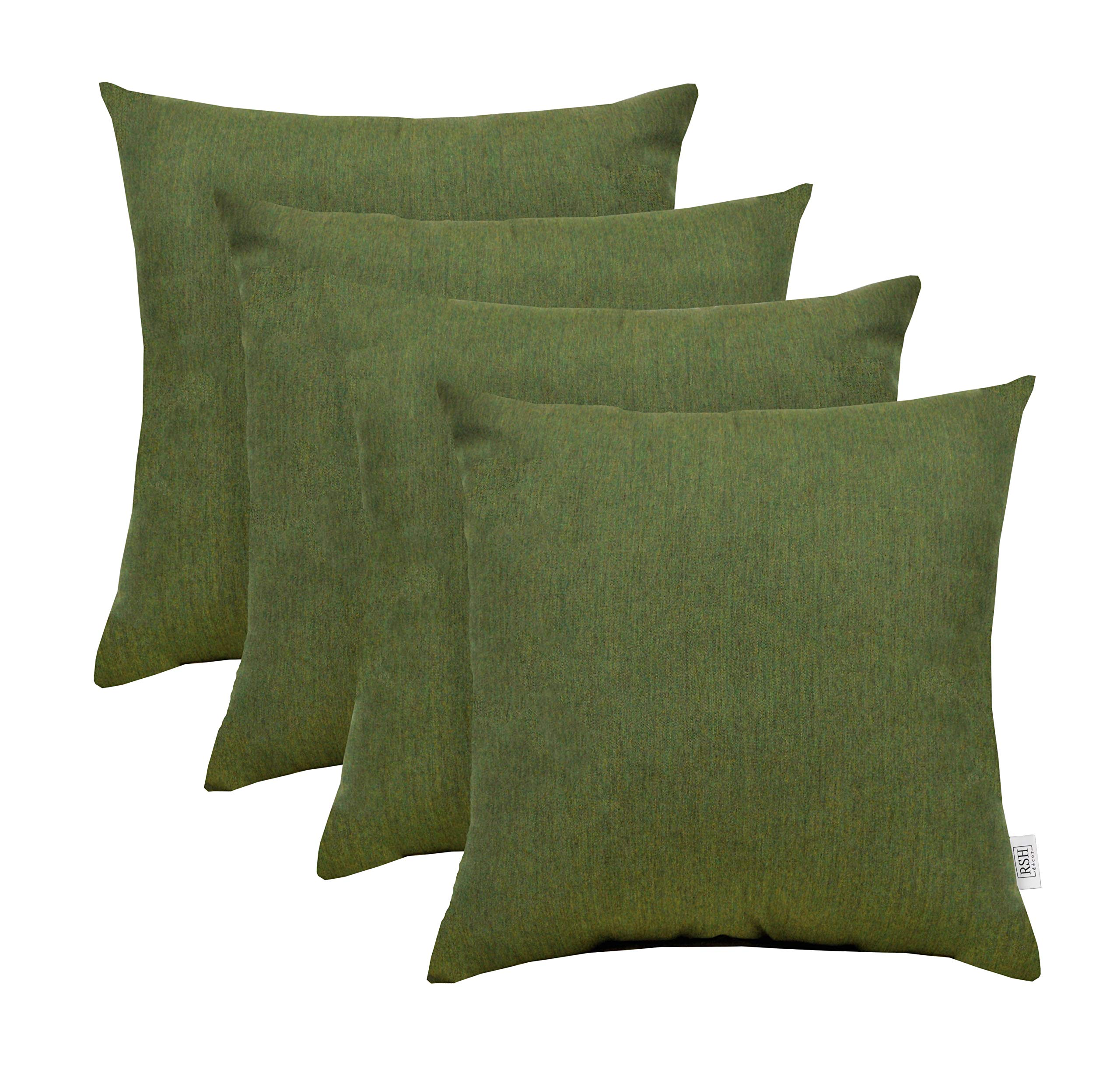 RSH Décor Set of 4 Indoor/Outdoor Square Throw Pillows made of Sunbrella Canvas Fern Green (20'' x 20'')