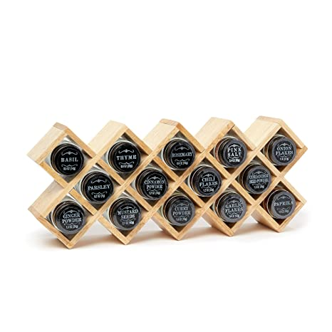 The Wooden Display Spice Rack By Modern Gourmet Foods | A Collection Of  Starter Spices Including