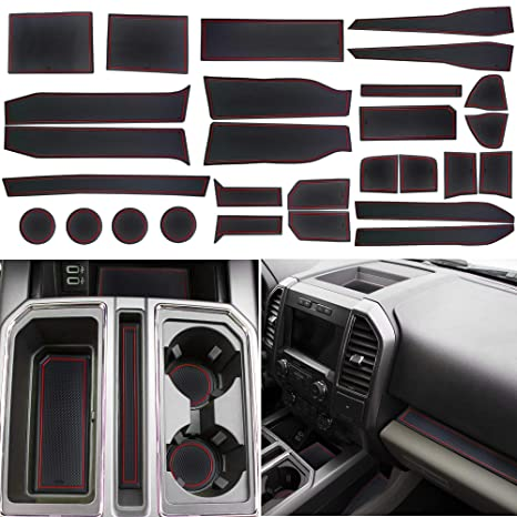 Solid Black Super Crew 2017 2018 2019 for Ford F-150 Custom Fit Cup Holder and Door Liner Accessories F150 28-pc Set