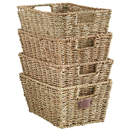 High Quality VonHaus Set Of 4 Seagrass Storage Baskets With Insert Handles Ideal For  Home And Bathroom Organization