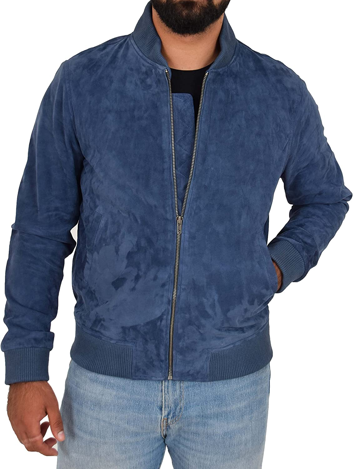Mens Realsoft Goat Suede Bomber Jacket Blue Slim Fit Varsity Baseball Coat Blur At Amazon Men S Clothing Store