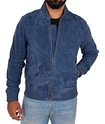77123ad4f Mens RealSoft Goat Suede Bomber Jacket Blue Slim Fit Varsity ...