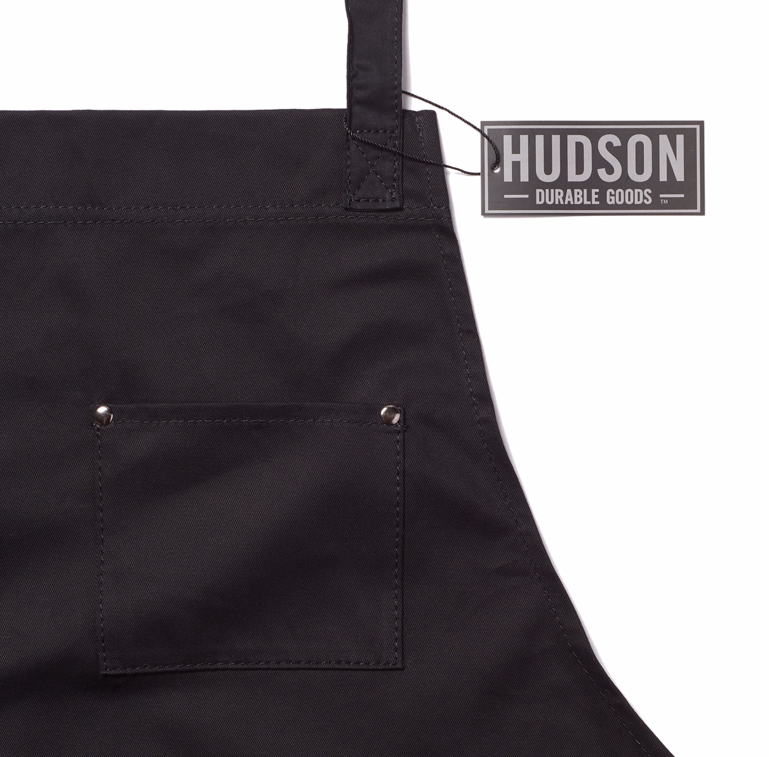 Hudson Durable Goods - Professional Grade Chef Apron for Kitchen, BBQ, and Grill (Black) with Towel Loop + Tool Pockets + Quick Release Buckle, Adjustable M to XXL by Hudson Durable Goods (Image #6)