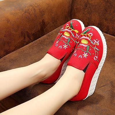 &hua Chaussures brodées, lin, semelle de tendon, style ethnique, féminine, mode, confortable, fond épais une pédale