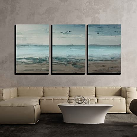 wall26 3 piece canvas wall art canvas wall art abstract seascape with beach