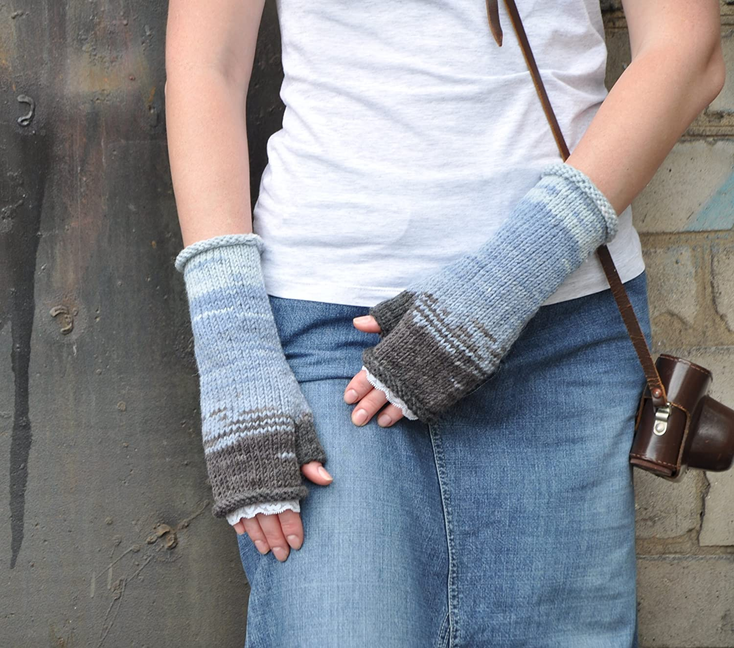 Knit Fingerless Gloves multi color with lace trim, gray and blue color Arm Warmers, Boho Chic, Women Accessories Slouchy Boho Glove mittens