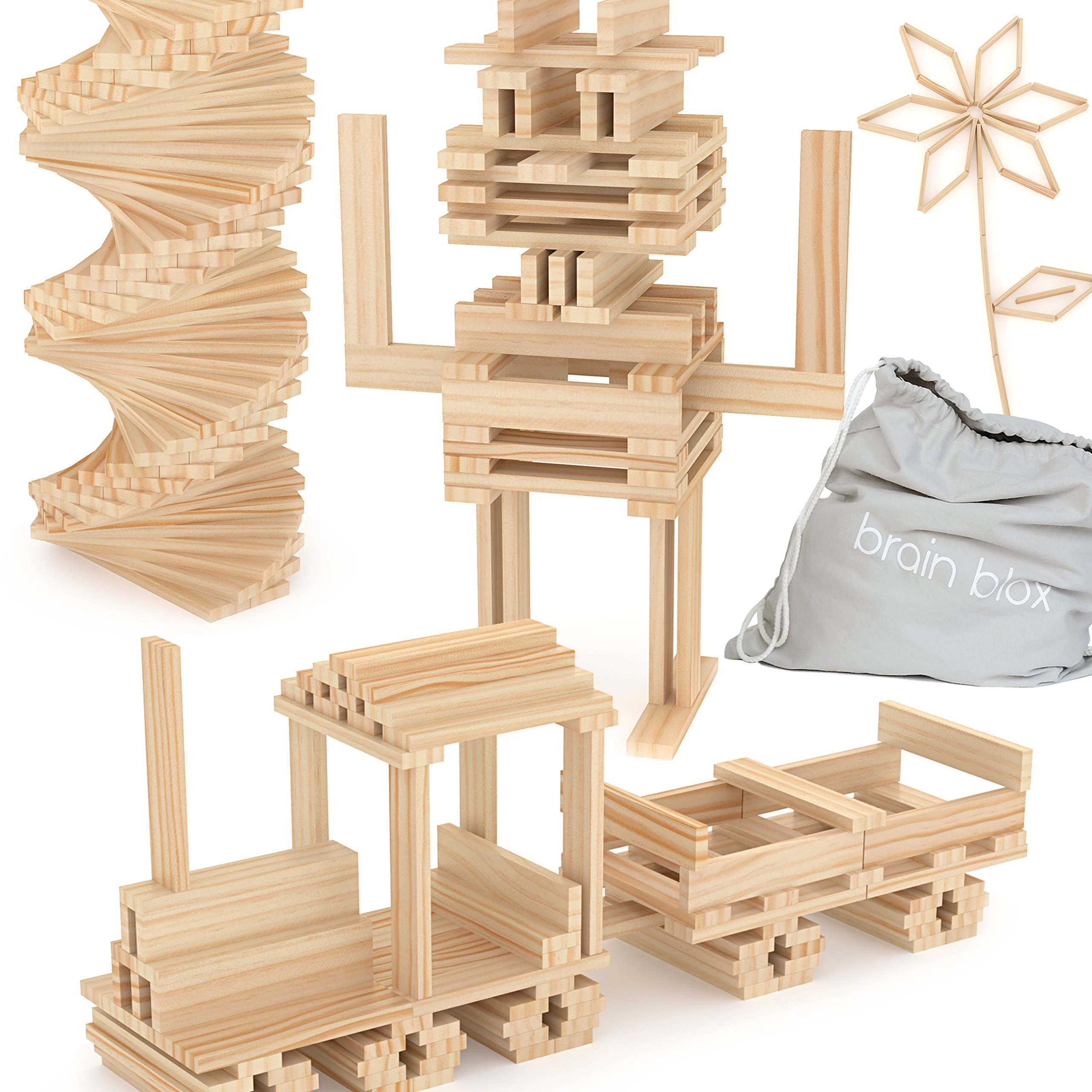 Brain Blox Wooden Building Blocks for Kids - Building Planks Set, STEM Toy for Boys and Girls (100 Pieces)