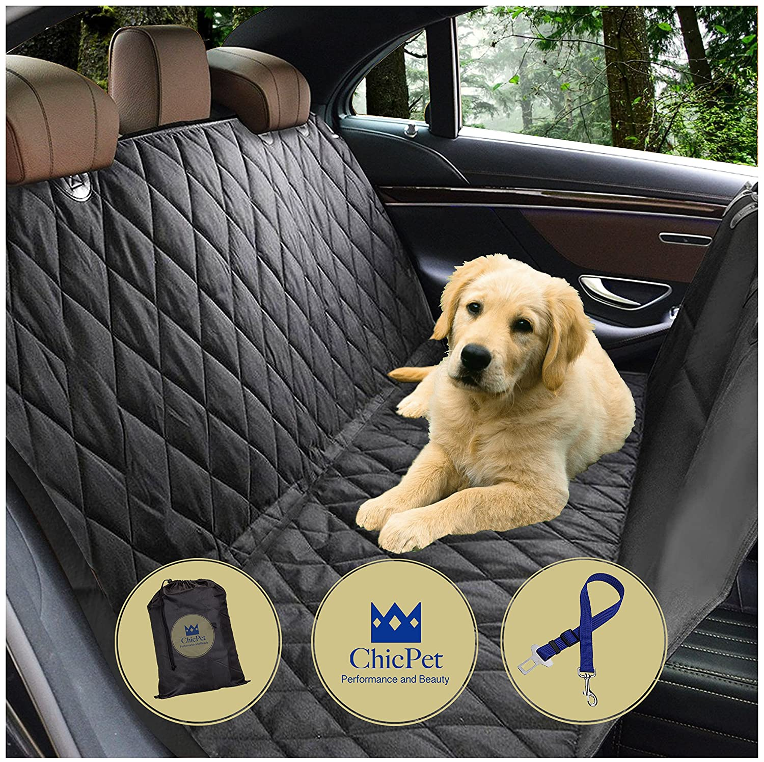 Boot Liner Fits all Cars Trucks SUVs Black Non Slip Dog Hammock Washable For Pets and Kids with Pet Seat Belt Lead and Storage Bag Waterproof Dog Car Seat Cover