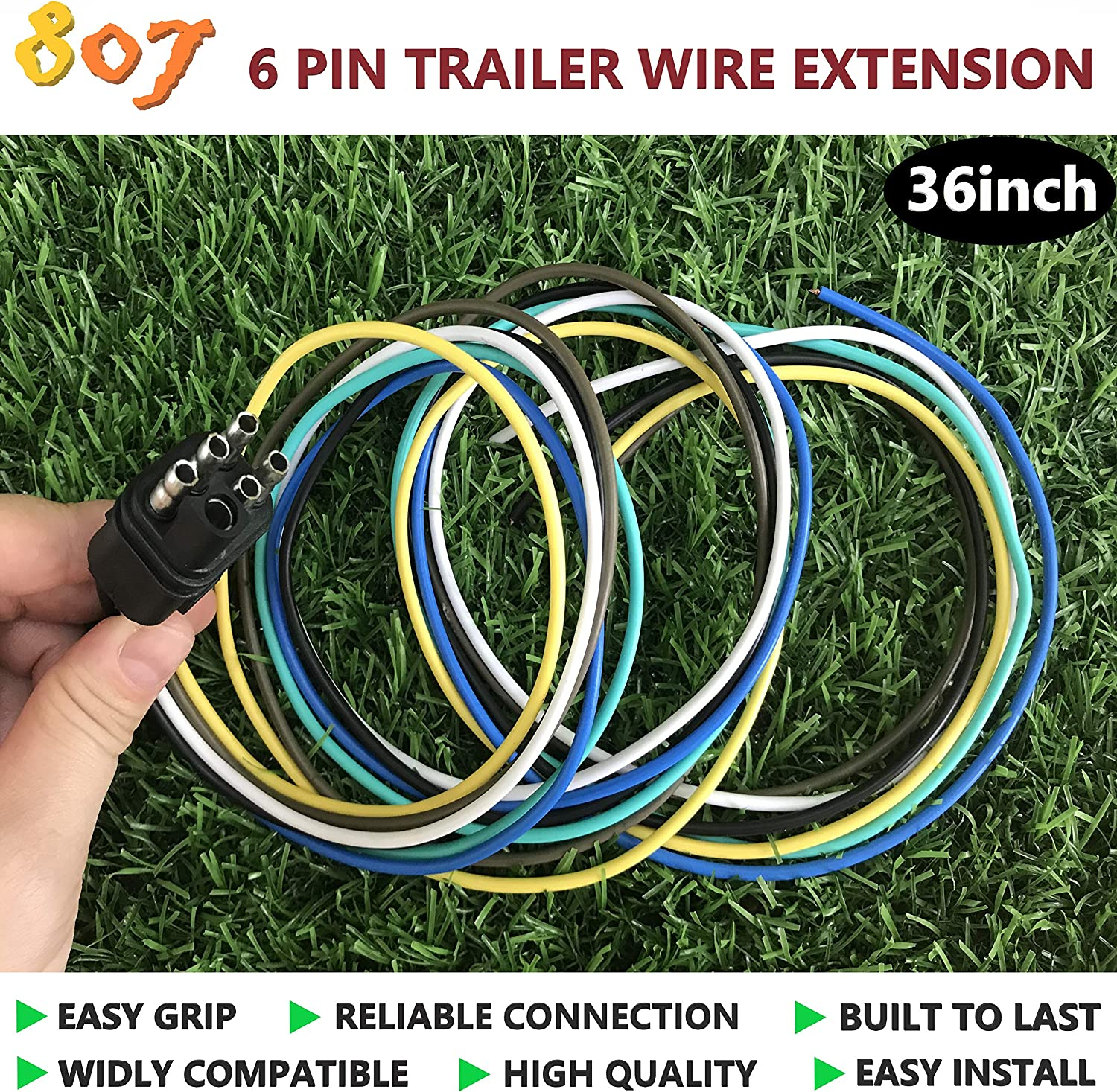 6 Way-Plug 807 Square 6-Way Trailer Wiring Harness Connectors,6 pin Square Trailer Wire Extension for LED Brake Tailgate Light Bars,Hitch Light Trailer Wiring Harness Extension Connector