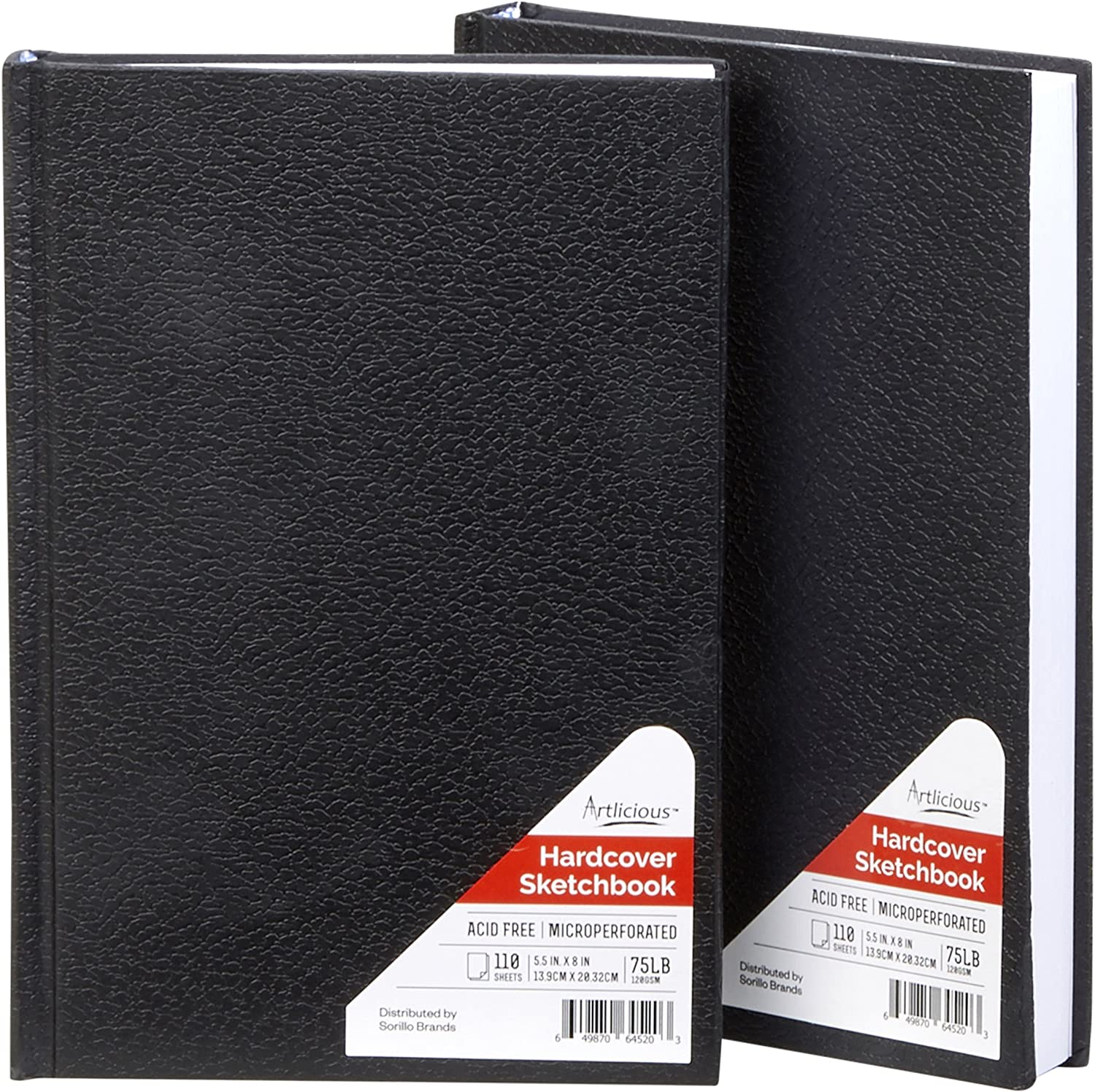 Artlicious - 2 Hardcover Sketch Books, Drawing Pads, Hardbound Value Pack - 5.5 inch x 8 inch