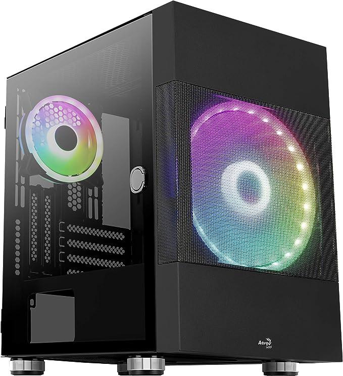 Aerocool Atomic, Caja PC Micro-ATX, 2X Ventilador ARGB, Cristal Templado+Rejilla, Negro: Amazon.es: Informática