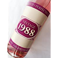 1988 Vintage Pink Happy 30th Birthday 2018 Wine Bottle Label Gift for Women and Men