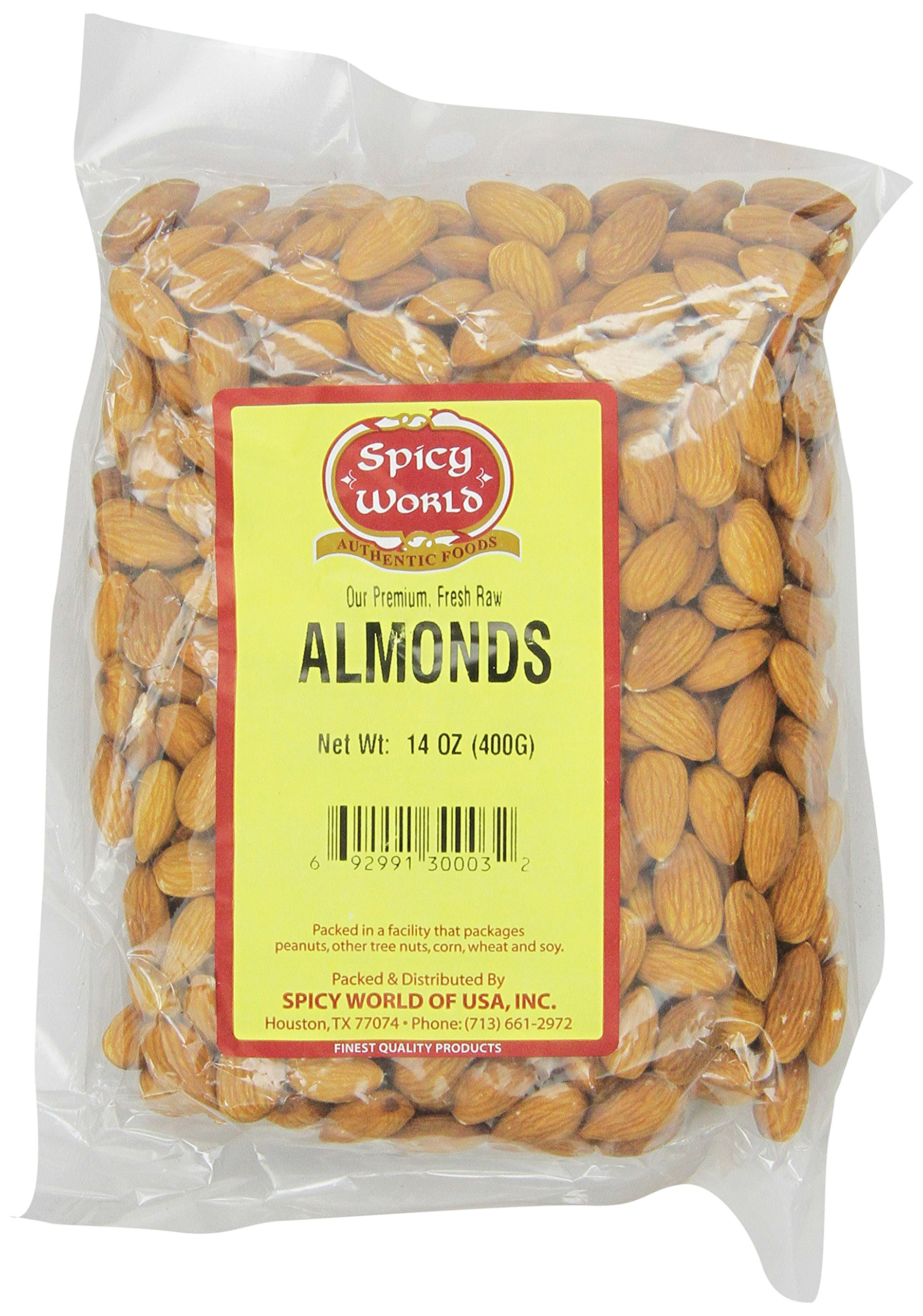 Spicy World Almonds Whole, 14-Ounce Pouches (Pack of 4)