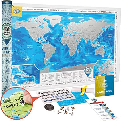 Mapa Mundi Rascar Detallado - Mapa del Mundo para Raspar Grande 88 x 62 cm - Mapamundi Rasca