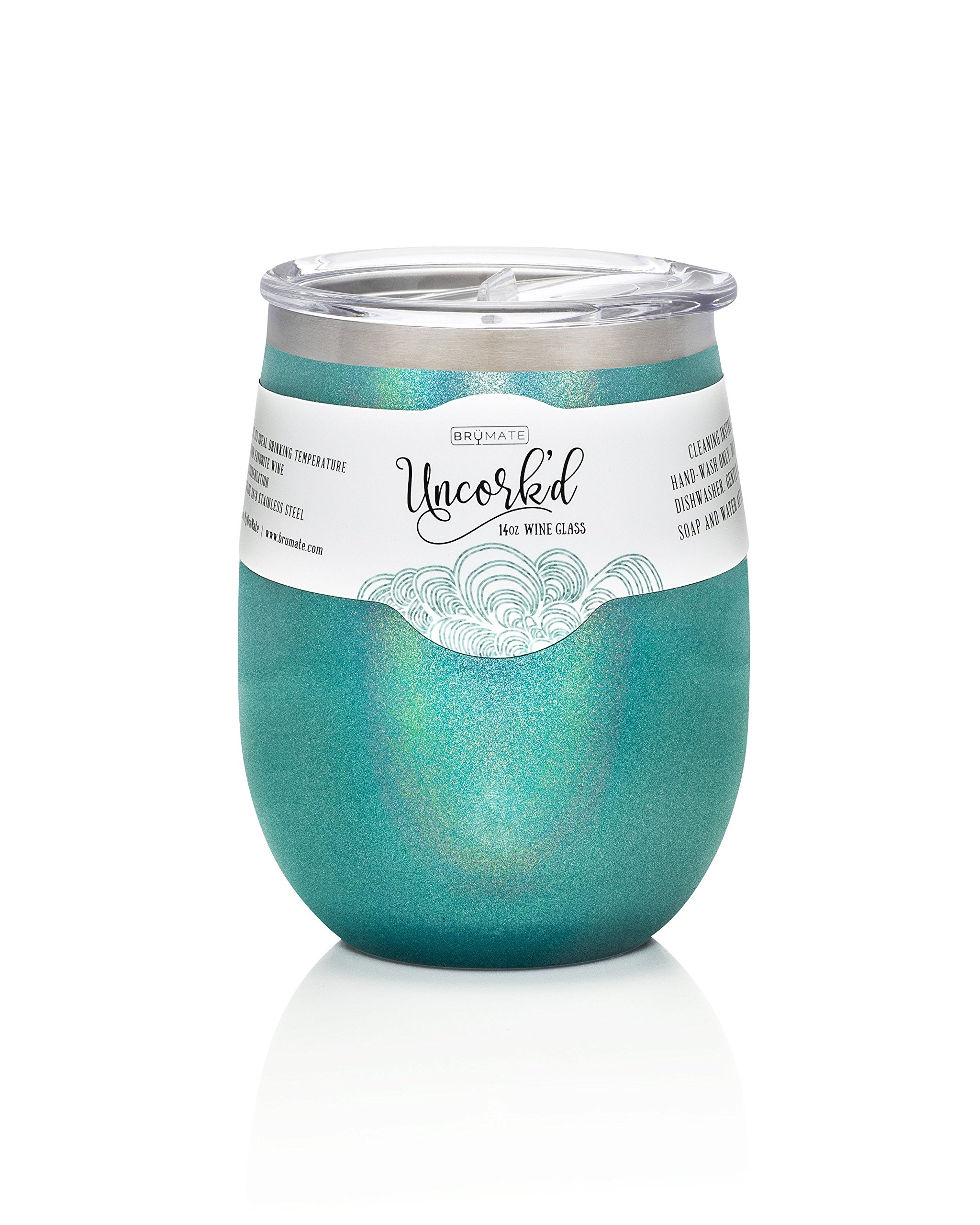 BruMate Uncork'd Insulated Stainless Steel Wine Glass 14oz (Glitter Peacock)