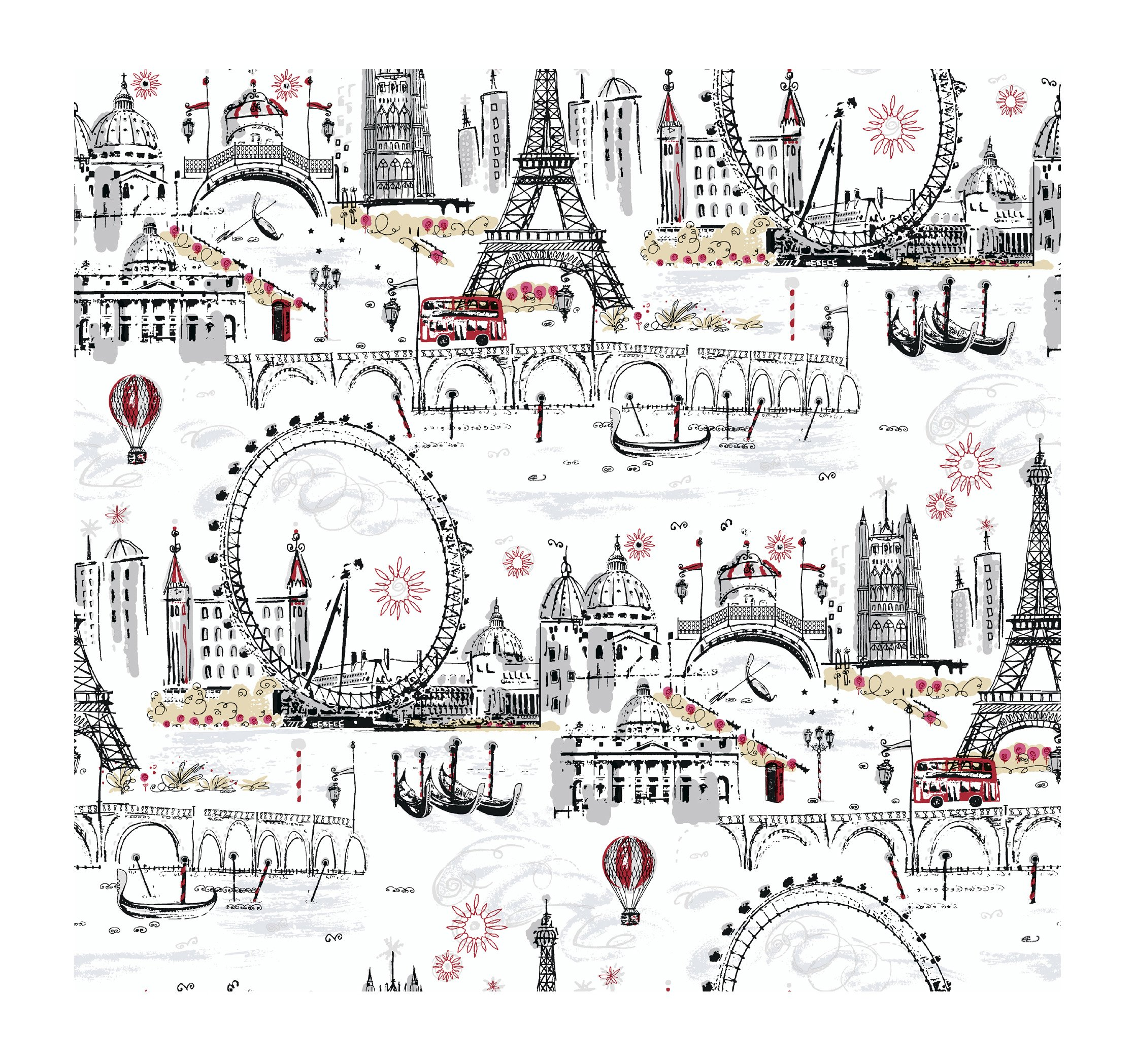 York Wallcoverings Tres Chic BL0436 Euro Scenic Wallpaper, White/Black/Red