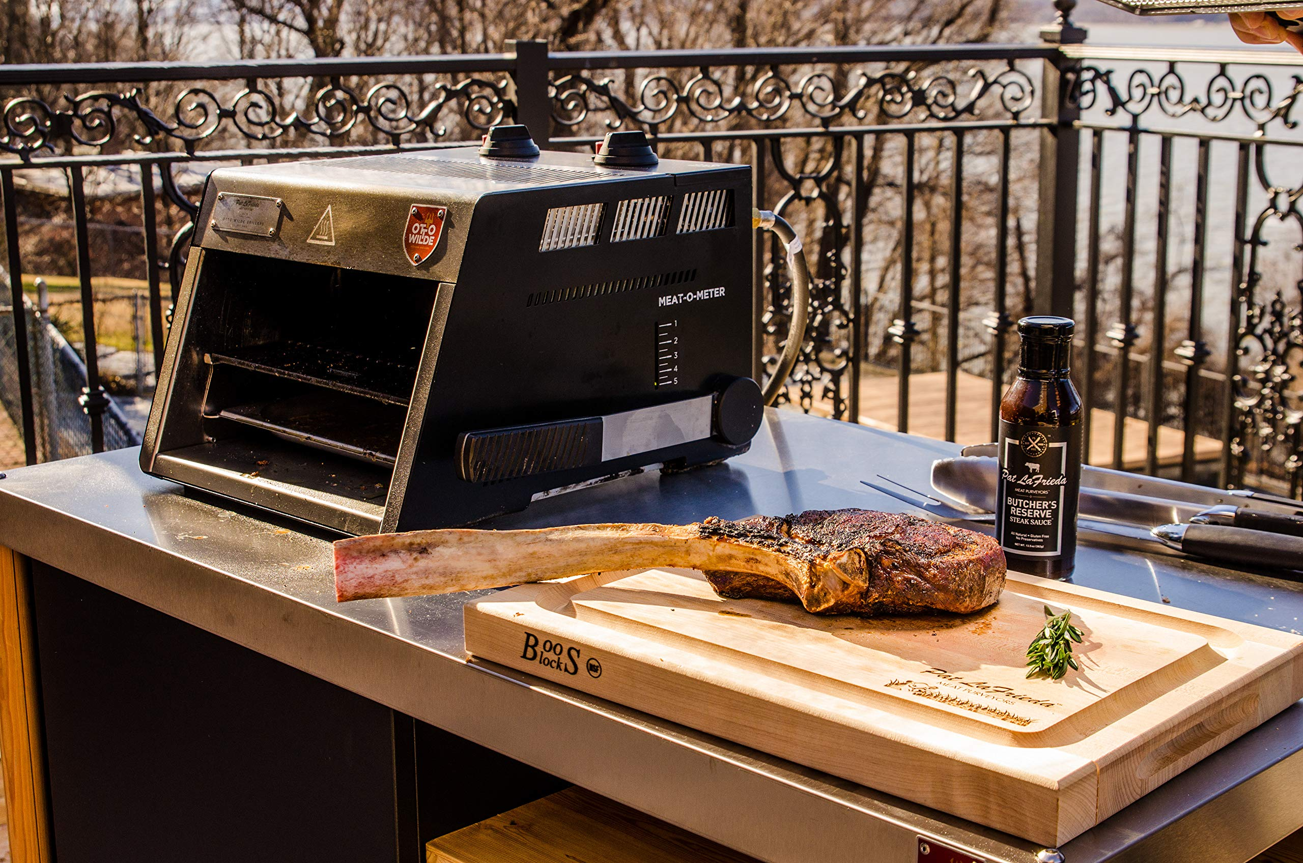 The Original Otto 1500°F Steak Grill with Dual OverFire Radiant Burners for The Perfect Steak, 100% Stainless Steel, Made in Germany, Delivered with cast Iron Grid, Clever Lever and More