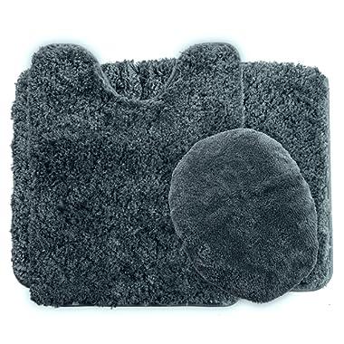 Lavish Home 3-Piece Super Plush Non-Slip Bath Mat Rug Set, Platinum