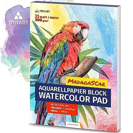 Hochwertiges Aquarellpapier A3 300g Weiss 35 Blatt A3