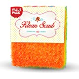 THE BEST Dishwashing LARGE Poly Scrubber- Klean Scrub Non Scratch No Bacteria Quick Dry Non Shredding Dish Sponge - Lasts 4 Times Longer Than Your Scour Pad - Better Hand Grip Pack of 3 Sponge Scrubs