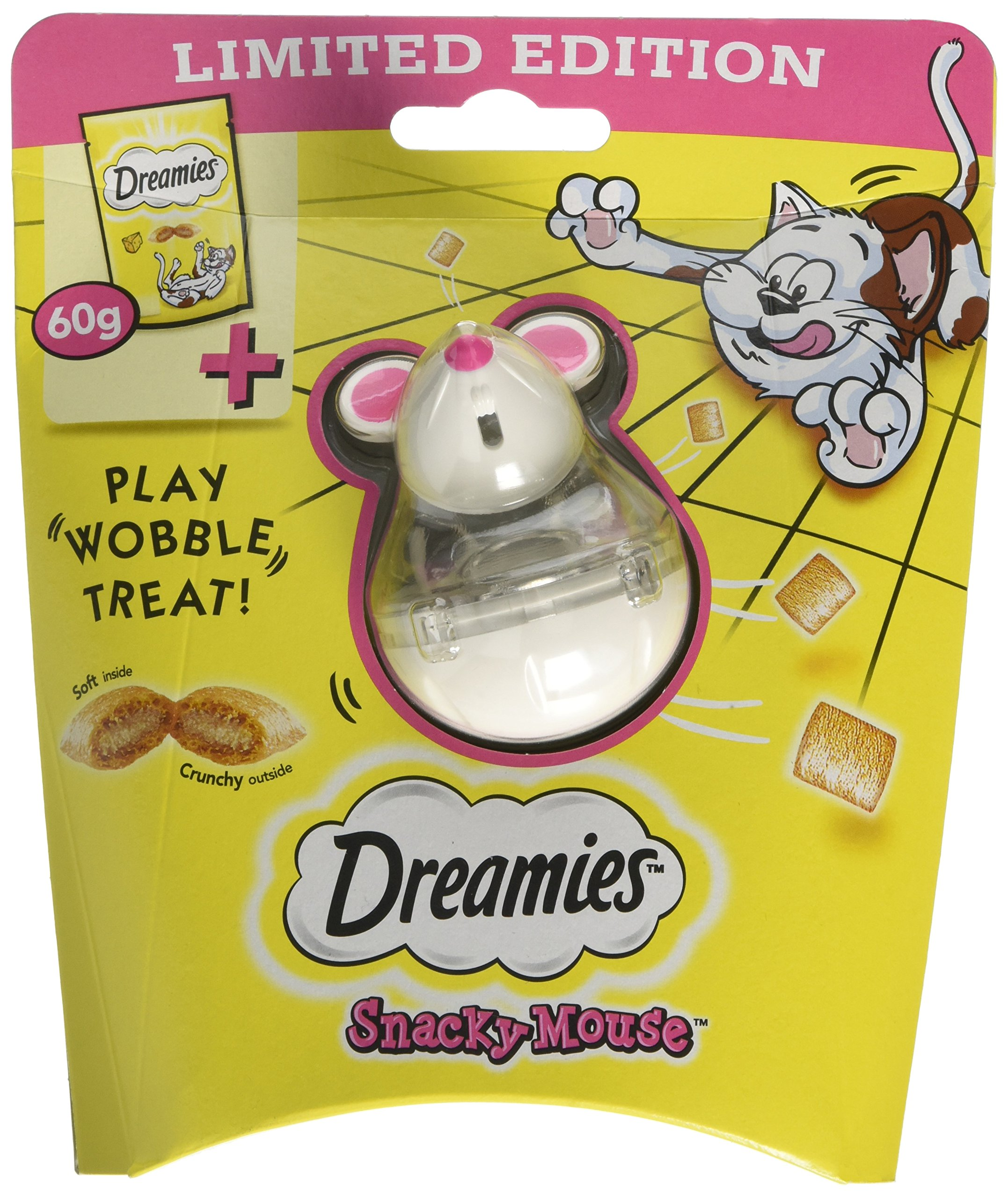 Dreamies Snacky Mouse Cat Toy Cheese 60g (PACK OF 4)