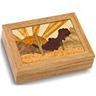 MarqART Desert Sunset Wood Art Jewelry Box & Gift - Handmade USA - Unmatched Quality - Unique, No Two are The Same - Original Work of Wood Art (#4118 Desert Sunset 4x5x1.5)