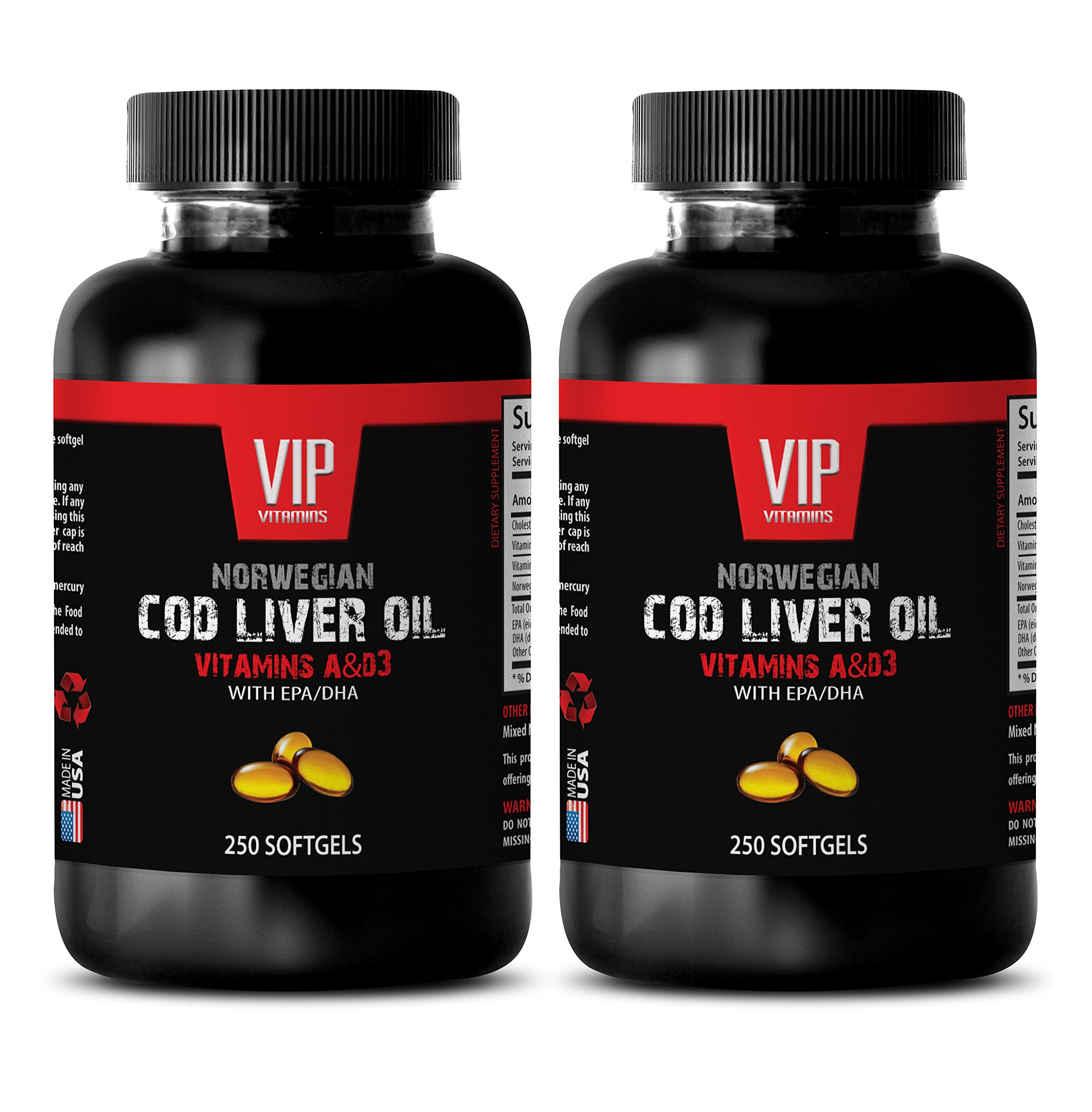 NORWEGIAN COD LIVER OIL with Vitamins A & D3/EPA & DHA - Mental wellness - 2 Bottles 500 Softgels
