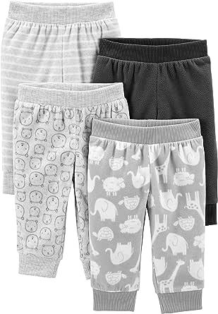 Simple Joys by Carter's Girls' 4-Pack Neutral Fleece Pants