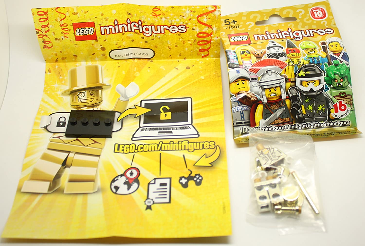 Amazon com rare lego series 10 mr gold minifigure limited to 5 000 worldwide toys games