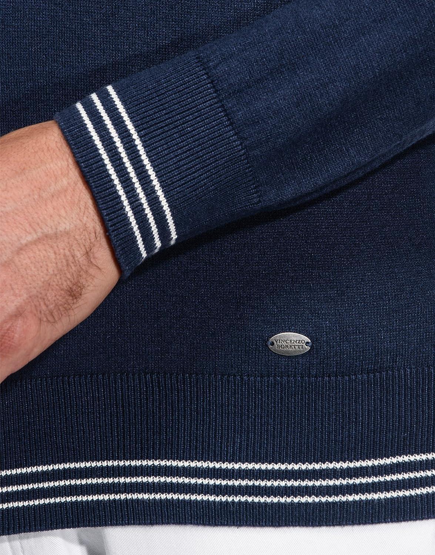 con Cuello levantado Acanalado Ajuste Entallado//Slim fit Vincenzo Boretti Jersey de Invierno para Hombre