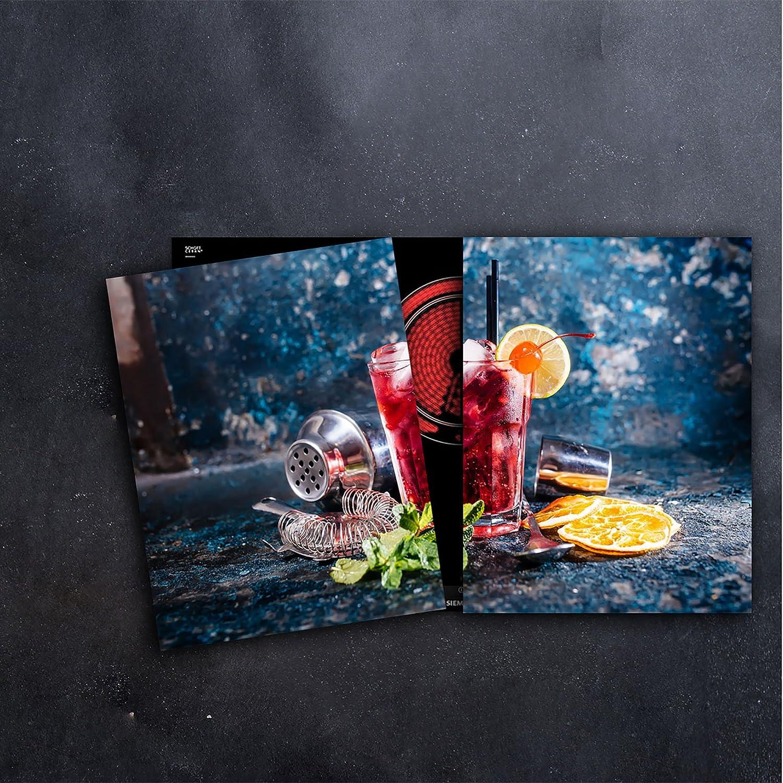 Glas-Herdabdeckplatte Ceranfeldabdeckung 2x40x52 Zweiteilig Metall Hintergrund