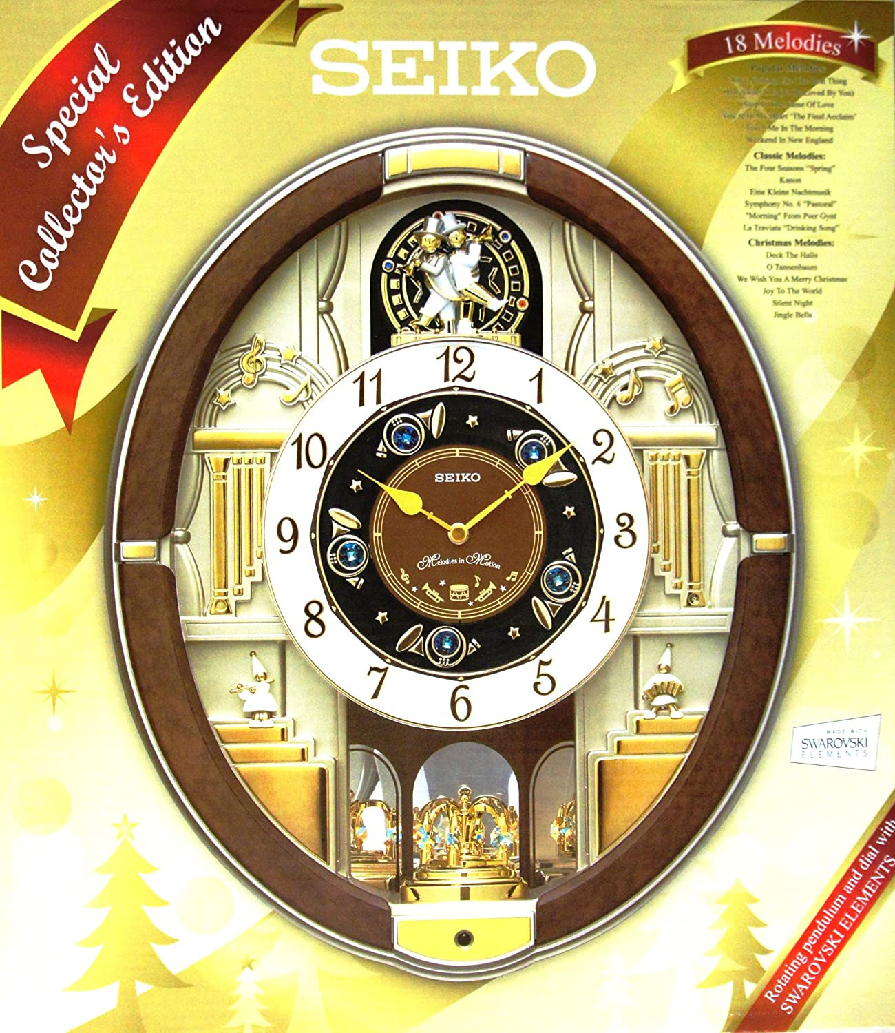 Amazon seiko eighteen melodies special collectors edition amazon seiko eighteen melodies special collectors edition swarovski crystal musical wall clock home kitchen amipublicfo Images